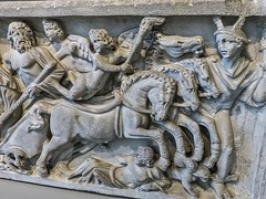 A bearded Hades drives away in his chariot with Persephone Roman sarcophagus depicting Hades abduction of Persephone Roman 200-220 CE (mharrsch) Tags: death ancient god roman religion maryland baltimore sarcophagus burial coffin persephone hades myth deity waltersartmuseum 3rdcenturyce mharrsch