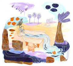 Autumn dream landscape (Sharon Farrow) Tags: blue autumn trees plants dog brown water leaves animal illustration clouds ink landscape october bath paint pattern purple decorative pastel decoration dream autumnleaves lilac bathtub illustrator crow bathtime rubberduck fineliner waxcrayon sharonfarrow