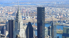 New York: Chrysler building (left), The Westin (right),  East River and Queensboro-Bridge (behind)