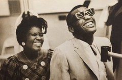 Ray Charles and one of the Raelettes (Zombie Normal) Tags: smiling photography hollywood 1960s 1962 raycharles williamclaxton raelettes exposuremagazinedec1989