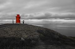 Headlight in nowhere (fabrizioboni00) Tags: red sea bw panorama black iceland mare colore headlight rosso colori islanda