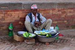 Cucumber Vendor (jfusion61) Tags: nepal square nikon cucumber valley d750 kathmandu vendor durbar bhaktapur 2470mm
