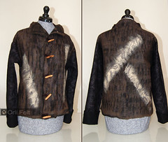 Men's jacket (Orli Felt) Tags: brown men wool felted handmade felt jacket orlifelt