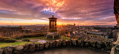 Panoramic View of Edinburgh from Calton Hill (MilesGrayPhotography (AnimalsBeforeHumans)) Tags: old city uk winter sunset sky autostitch panorama castle monument sunshine skyline architecture canon lens landscape outdoors photography eos evening scotland town photo edinburgh europe glow cityscape edinburghcastle britain dusk pano scenic panoramic historic clocktower nd usm oldtown volcanic historicscotland ef caltonhill balmoral castlerock 6d 24105 ptgui f4l auldreekie nighfall dugaldstewartmonument canonef24105mmf4lisusm nd09 nd8x balmoralclocktower canon6d canoneos6d