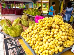 A fruitful find! (stratman (2 many pix and busy)) Tags: yellow durian penang fruitstall balikpulau lanzones langsat asianfruits canonphotography cmwdyellow powershotg1x