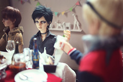 """""""Yeah...you too."""" (lightlybattered) Tags: christmas tree dinner ball miniature doll williams f16 michele bjd superdollfie volks cecile tae abjd fcs jointed balljointed sdgr sd17 volksdoll"""