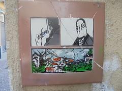 023 (en-ri) Tags: piastrella uomo man paesaggio landscape bianco arancione verde grigio nero torino wall muro graffiti writing