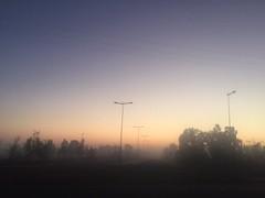 Sutil (yanitzatorres) Tags: degradado alambrado cables cielo tenue sombras bruma rboles farolas autopista carretera va viaje marrakech casablanca morocco marroqu marruecos amanecer