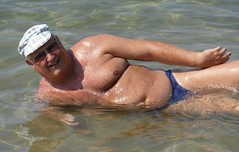 In the Ionian Sea (pj's memories) Tags: corfu arillas sea seaside kiniki tanthru trunks slip speedos sunhat