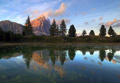A very long moment (Robyn Hooz (away)) Tags: tofana tramonto alberi trees laghetto passo rozes acqua water sunset luce light dolomiti