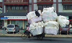 Shanghai - Styrofoam (slow) (cnmark) Tags: china shanghai longhua west road street styrofoam collector tricycle recycling overloaded berladen berladenes dreirad     allrightsreserved