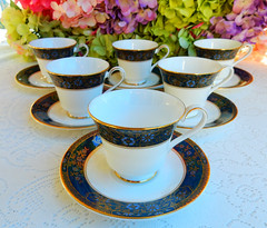 Royal Doulton Porcelain Cups & Saucers ~ Carlyle ~ Floral ~ Gold (Donna's Collectables) Tags: royal doulton porcelain cups saucers ~ carlyle floral gold