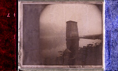 Holgaroid Bridge Piling (Goop Side) (DRCPhoto) Tags: roidweek 2016 holga holgaroid polaroid type 100 sepia paulgiambarbaedition impossible project albright westvirginia cheatriver