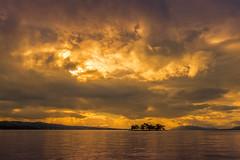 sunset 0817 (junjiaoyama) Tags: japan sunset sky light sun cloud weather landscape golden contrast colour bright lake island water nature fall autumn