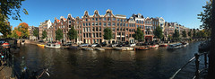 Holland - Amsterdam - Canal panorama 01_IMG_1038 (Darrell Godliman) Tags: hollandamsterdamcanalpanorama01img1038 ihpone phone panorama panoramic amsterdam holland netherlands prinsengracht canal canalhouses europe widescreen