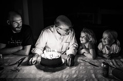 Grandpa. (aamith) Tags: birthday birthdaycake candles candlelight family 35mm sigmaart monochrome bnw bw blackandwhitephotography shadow