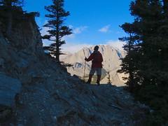 Mt Yamnuska Summit Scramble - Larry takes a breather (benlarhome) Tags: yamnuska alberta canada kananaskis scramble scrambling hike hiking trek trekking trail