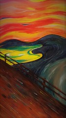 15281832_1224294880941977_1310817986_n (2) (bathena_97) Tags: art peinture paint acrylique tableau scream projet pont ciel mer montagne jaune orange rouge bleu brun bois cri expressionnisme edvard munch