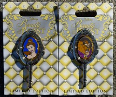 Disneyland Visit 2016-11-27 - Downtown Disney - Pin Traders - Belle and Beast Spinner Pins (drj1828) Tags: us disneyland dlr downtowndisney visit 2016 beautyandthebeast pin limitededition