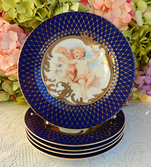Fitz and Floyd Porcelain Plates ~ Cherub ~ Putti ~ Cobalt ~ Gold (Donna's Collectables) Tags: fitz floyd porcelain plates ~ cherub putti cobalt gold christmas
