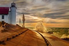 Betsie smash (Notkalvin) Tags: pointbetsie lighthouse light waves lakemichigan shore michigan benzie notkalvin mikekline notkalvinphotography outdoor water lake weather crashingwaves nosurfing