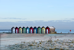 Ten beach huts on a frosty morning (DavidWF2009) Tags: northumberland blyth frost beachhuts sea