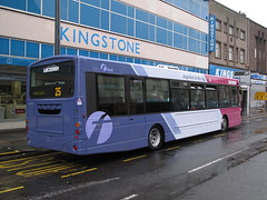 66970 - KX05 MJV: Belgrave Gate, Leicester, 24/08/2015 (47609FireFly) Tags: bus volvo leicester fuchsia first wright route25 singledeck lowfloor volvob7rle b7rle wrighteclipse 66970 belgravegate firstlivery firstleicester kx05mjv firstmidlands firstleicesterfuchsia
