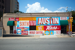 Iconic 6th street mural, Austin, Texas (BDphoto1) Tags: usa color horizontal austin mural colorful texas naturallight nobody photograph sigh iconic