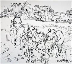 Horses at Mammoth Saloon (Kerry Niemann) Tags: horses inkdrawing goldfieldghosttown mammothsaloon