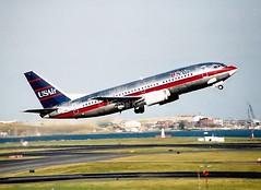 US Air                                Boeing 737                              N351US (Flame1958) Tags: print scan loganairport boeing bos takeoff bostonloganairport 737 usair usairways b737 boeing737 bostonlogan kbos n351us usairb737