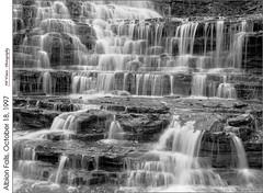 Albion Falls, October 18, 1997 (jwvraets) Tags: blackandwhite bw film monochrome waterfall hamilton gimp scanned opensource digitized niagaraescarpment kodaktmax100 redhillcreek albionfalls rawtherapee pentx6x7 takumar55mmf40