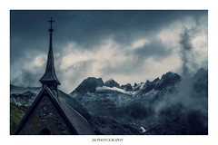 The Mountain Chapel (marselius1) Tags: goms switzerland wallis furka gletch mountain snow fog clouds church chappel faded colours