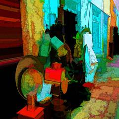 somewhere in Tunisia (j.p.yef) Tags: peterfey jpyef yef tunisia africa streetlife shop people digitalart