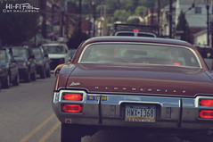 Driving Around Listening to the K-Team (Hi-Fi Fotos) Tags: olds oldsmobile cutlass vintage traffic millvale pittsburgh road kteam kdka bumper sticker brant 85mm nikkor manual nikon d5000 hififotos hallewell