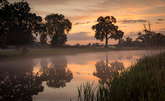 A misty Croome river. (cliveg004) Tags: croome croomeriver croomelandscapepark worcestershire nationaltrust nt mist river sunset trees rural countryside nikon d5200 1685mm