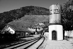 PORTUGAL, Pinhao, La gare (Bruno Cochet) Tags: paysage landscape dourao monochrome noir et blanc douro valley vallée du vale do enregistrer gare cambio train chateau deau rail