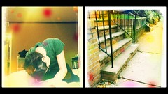 (oostumbleineoo) Tags: anxiety hunched aftermywalk outside sidewalk steps facingmyfears agoraphobia crownheights mentalhealth physicalhealth diptych