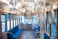 inside of toden (N.sino) Tags: m9 nokton50mmf11 tram 都電 車内 つり革 扇風機 江戸東京たてもの園