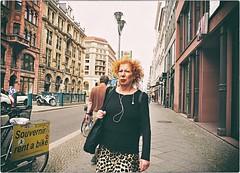 Bad Hair Day (Steve Lundqvist) Tags: street streetphotography berlin berlino germania germany deutschland bad hair day sidewalk footpath path nikon nikkor 24mm woman old iphone phones bag animalier red redhair dof pov