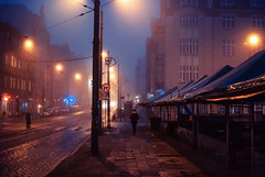 Just before dawn. (ewitsoe) Tags: halloween fog foggy mist movie film cinema cinematic horror eerie street city life woman walking alone man ewitsoe poznan poland polska nikond80 35mm