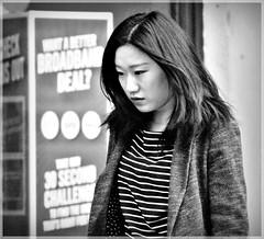 Asian Girl (1980blue Street) Tags: street candid woman girl female mono monochrome blackandwhite cardiff queenstreet autumn asian chinese japanese korean