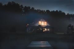 Mist of Dark - Colour (KK Productions) Tags: dark exposure night nighttime lake house fog mist colour black white bw lights creepy scary spooky forest nature landscape art