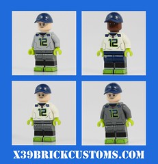 New Seahawk Uniforms! (X39BrickCustoms .com) Tags: lego seahawks minifigures custom printed black friday cyber monday legos