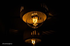 Bulb in the mirror (Aurorasogna Mila) Tags: lampadina bulp lamp lampada luce light specchio mirror ombra ombre shadow filo wire rame copper buio dark nero black riflesso reflex sony alpha290 aurorasogna flickr