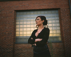 Hannah Kathryn Design (caseyharrison) Tags: plaubel makina 670 nikkor fuji mediumformat rangefinder 6x7 120 film provia pushed portrait young woman brick berkeley california