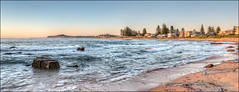 Light lies flat on the water (JustAddVignette) Tags: australia basinbeach beach dawn early headland landscapes monavale newsouthwales northernbeaches ocean panorama rocks sand seascape seawater sky sunrise sydney water