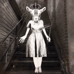 You are safe here. (lorenka campos) Tags: wishes magic theotherside theotherworld modernart blackandwhite animalsindresses goats art surrealism surreal
