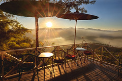 The Cafe on The Hill (Krunja) Tags: background balcony cafe chair coffee decorative fog forest furniture garden greece green guy high hill holiday home horizontal landscape leisure light mist morning mountain natural nature outdoor outside park relax seat shop sun sunny sunset sunshine table terrace thailand tourism travel tree vacation view warm