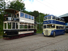 The Very Old and the Nearly New! (Terry Pinnegar Photography) Tags: beamish museum countydurham tram sheffield cobbles bus rotherham daimler cvg6 ket220 264 edwardian gardiner wilsonpreselector
