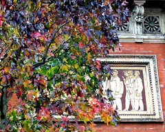 Autumn in the Inner Courtyard, Victoria & albert Museum, Kensington, London (MJ Reilly) Tags: va victoriaalbert southkensington kensington museum london art victorian autumn relief frieze tree colourful leaves canon s100 powershot